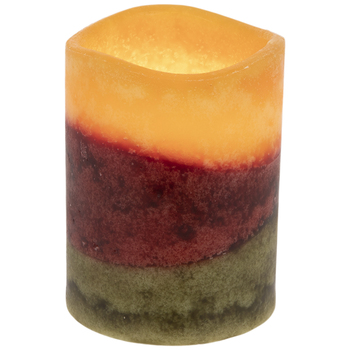 Yellow, Red & Green Layered LED Pillar Candle