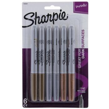 Metallic Fine Point Sharpie Markers - 6 Piece Set