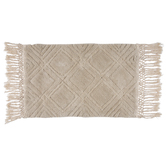Cream Diamond Shaggy Rug With Fringe