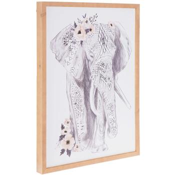 Elephant With Flowers Wood Wall Decor