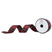 """Red, Black & Gold Plaid Wired Edge Ribbon - 1 1/2"""""""