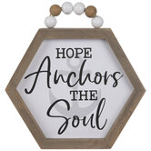 Hope Anchors The Soul Hexagon Wood Wall Decor