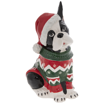 Boston Terrier In A Sweater Cookie Jar