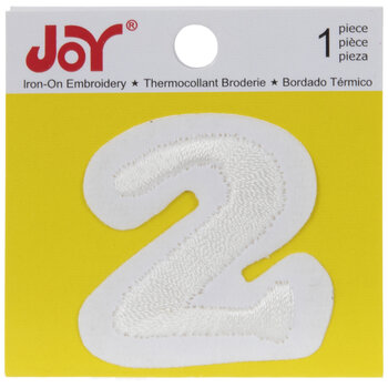 White Embroidered Number Iron-On Applique -  2