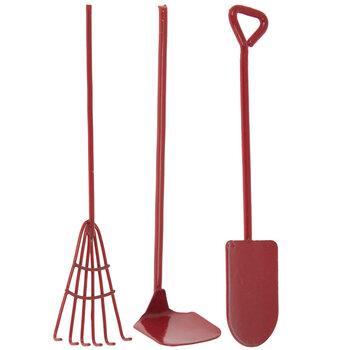 Miniature Red Metal Garden Tools