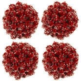 Red Glitter Berry Ball Ornaments