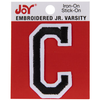 "Black Junior Varsity Letter Iron-On Applique C - 2"""