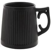 Matte Black Ridged Mug