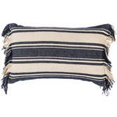 Navy & Cream Striped Frayed Pillow