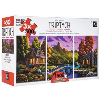 Mountain Cabin Scene Triptych Puzzle
