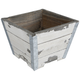 Antique White Square Wood Planter