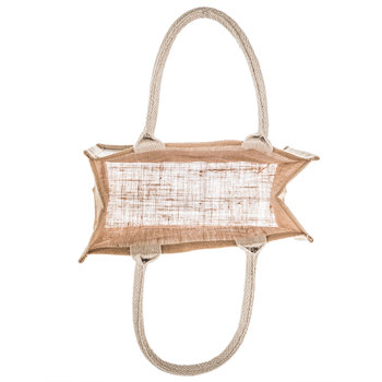 Jute Tote Bag With Canvas Pocket