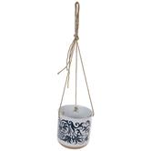 Navy Filigree Hanging Flower Pot