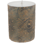 Bronze Flowers Pillar Candle