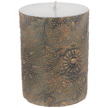 Bronze Flowers Pillar Candle
