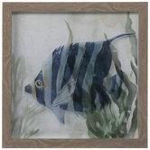 Navy Striped Fish Framed Wall Decor