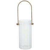Ridged Glass Vase With Gold Handle