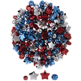 Metallic Red, Silver & Blue Patriotic Beads