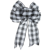 Black & White Buffalo Check Gift Bow