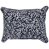 Navy & White Coral Pillow