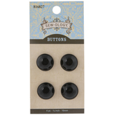 Black Round Shank Buttons - 16mm