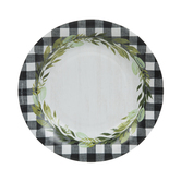 Buffalo Check & Garland Trim Paper Plates - Small