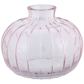 Pink Ribbed Mini Glass Vase