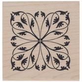 Square Flourish Rubber Stamp