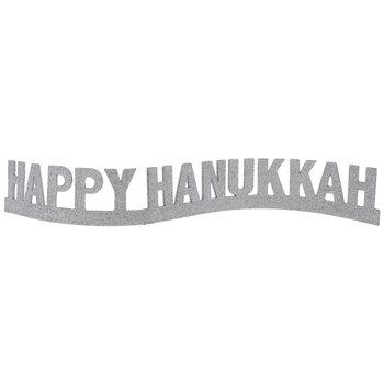 Silver Glitter Happy Hanukkah Decor