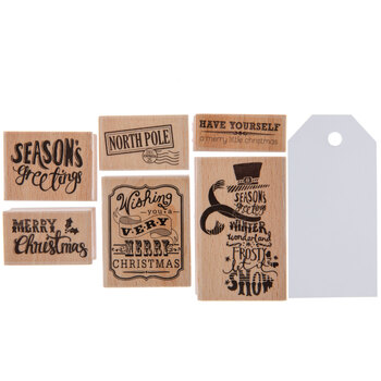 Merry Christmas Rubber Stamps & Tags