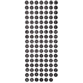 Black Round Alphabet Stickers