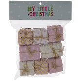 Mini Pink & White Wrapped Gift Ornaments