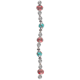 Red & Turquoise Mixed Media Bead Strand