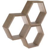 Honeycomb Wood Wall Shelf