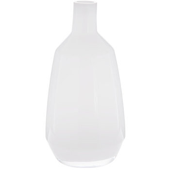 White Tapered Neck Glass Vase