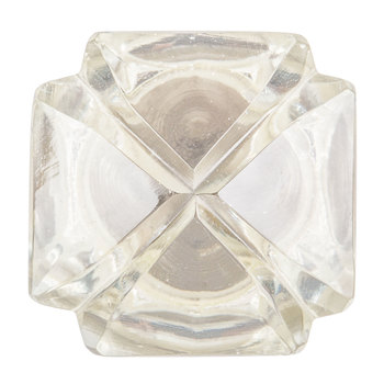Glass Etched Square Knob with Metal Base