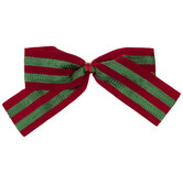 Red & Green Striped Twist Tie Bows