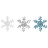 White, Silver & Blue Glitter Snowflake Flatbacks