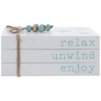 Relax Unwind Enjoy Wood Stacked Books