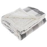 Gray Buffalo Check Sherpa Throw Blanket
