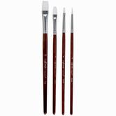White Nylon All Purpose Paint Brushes - 4 Piece Set