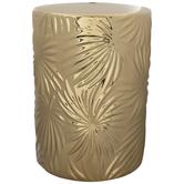 Metallic Gold Flower Garden Stool