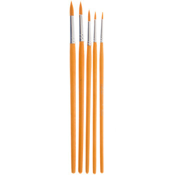 Gold Nylon Round Paint Brushes - 5 Piece Set
