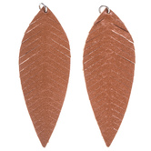 Brown Leather Leaf Pendants