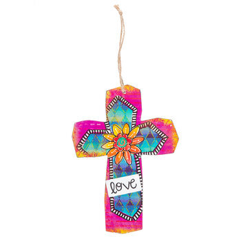 Colorful Love Wood Wall Cross