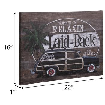 Laid Back Car Canvas Wall Decor