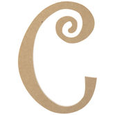 Curly-Q Wood Letter C - 8""