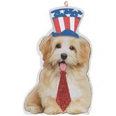 Patriotic Dog Wearing Tie Ornament