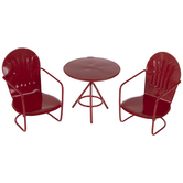 Miniature Red Metal Table & Chairs