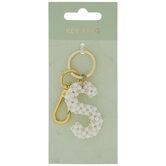 Plastic Pearl Letter Key Ring